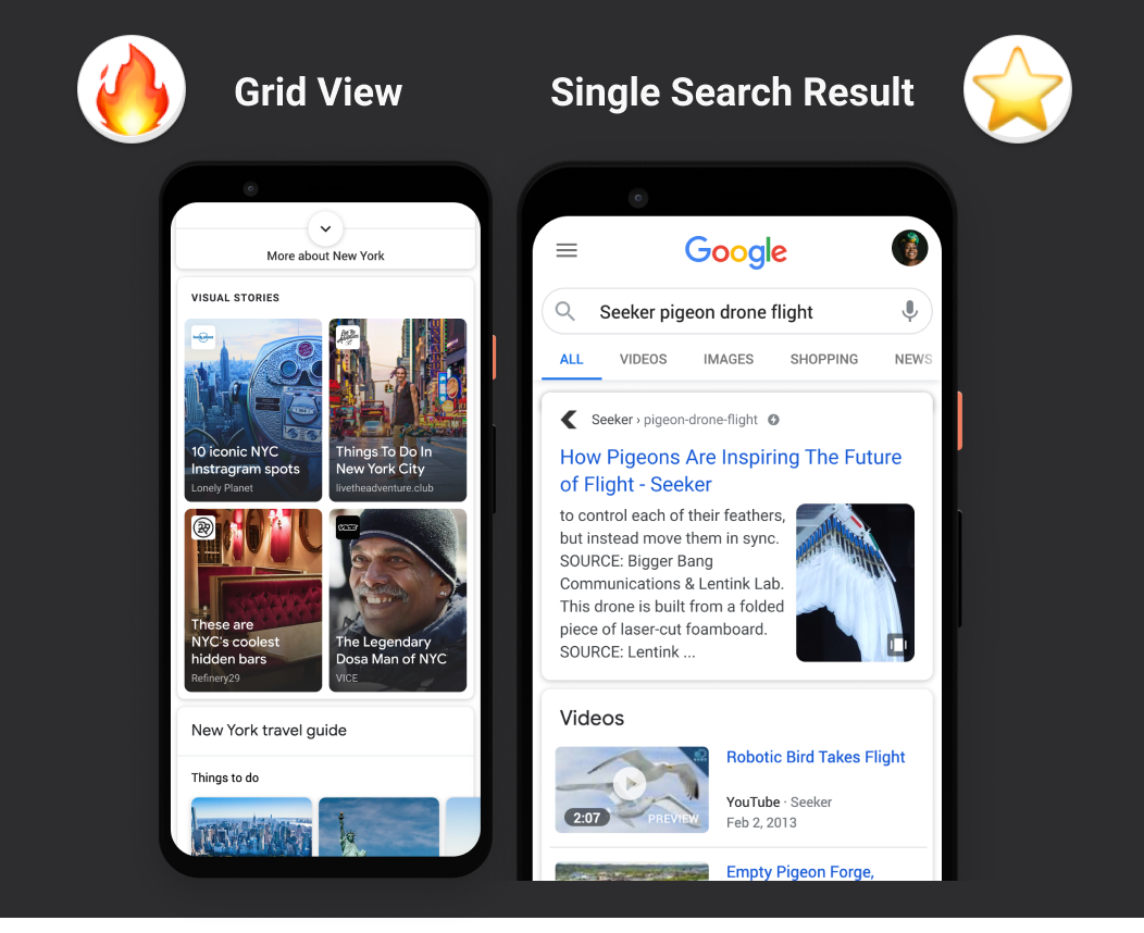 Google Web Stories are highlighted in Grid View and as a single search result. Apart from Google Discover.