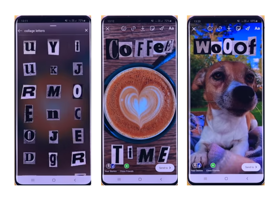 Collage letters used in pictures of coffee an a dog.