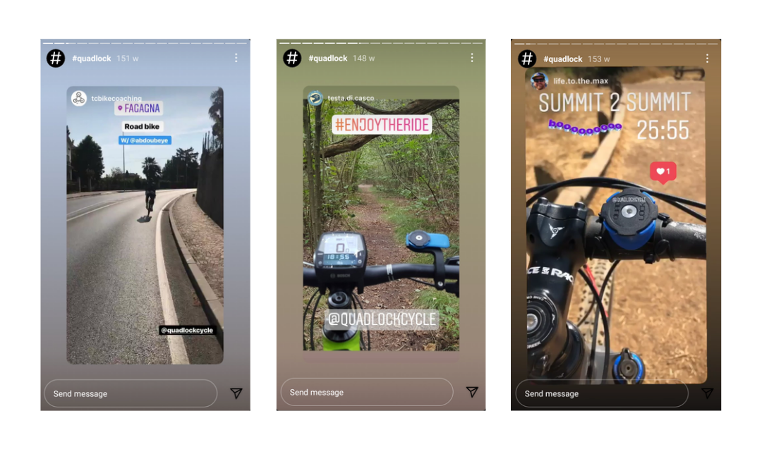 A person riding a cycle through a road and two images of cycles with mounts.