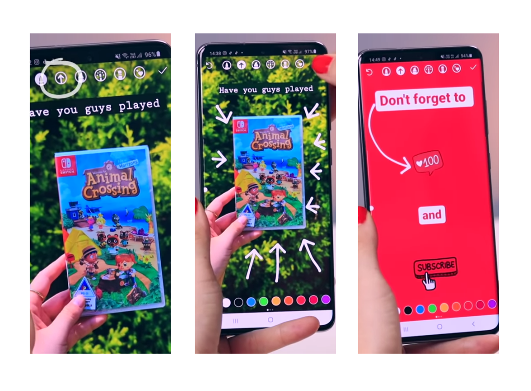 A children's book about animal crossing and an Instagram post that asks viewers to subscribe.