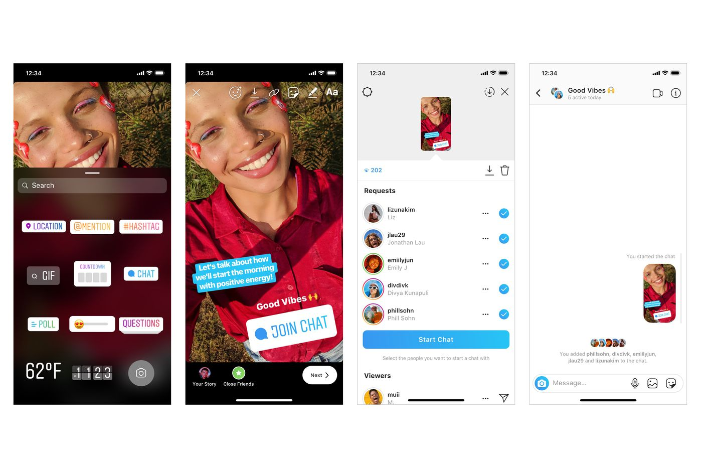 Screenshots of Instagram stories and chatbox.