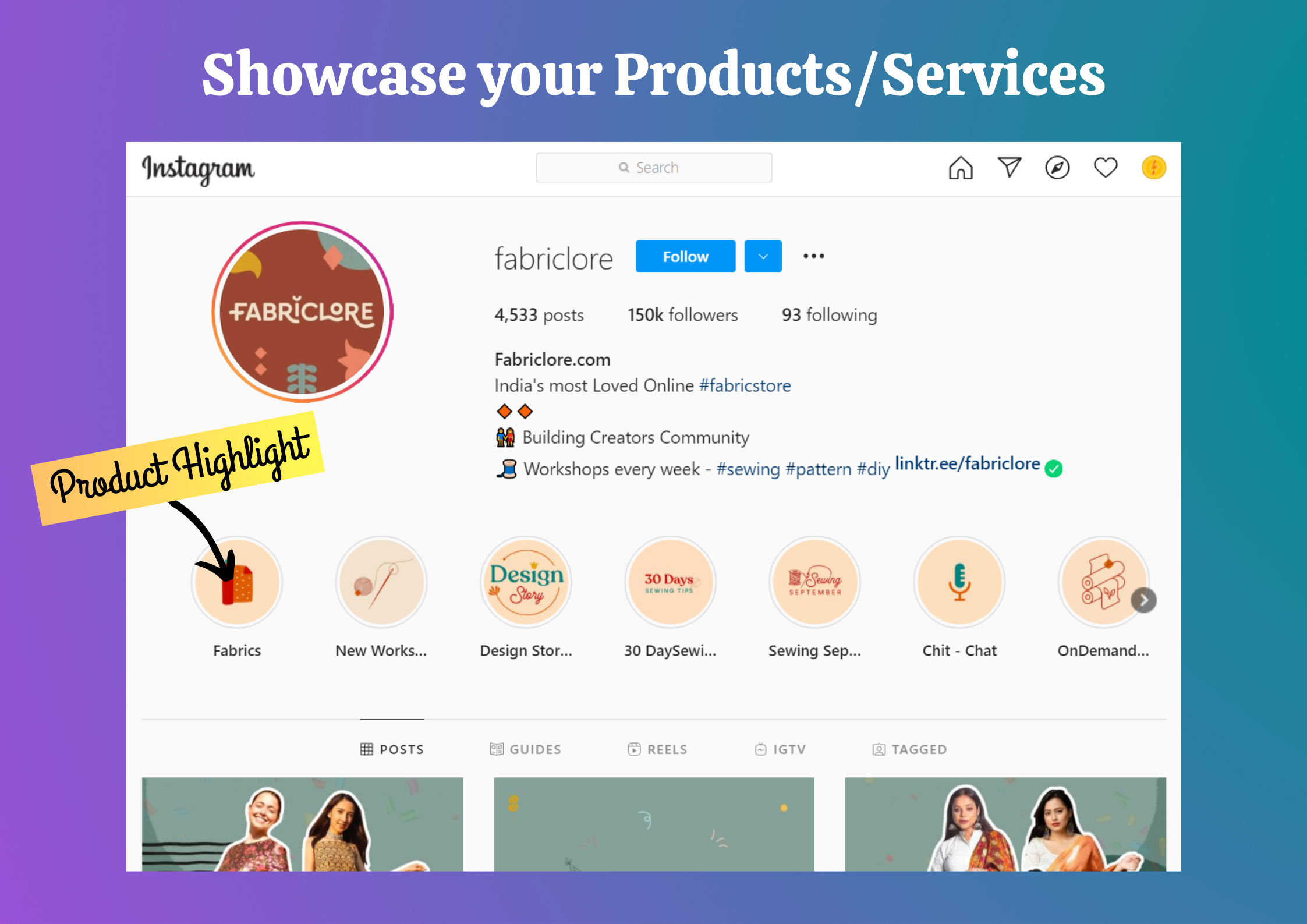 Instagram HIghlights of products